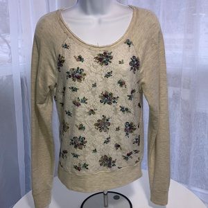 American Rag Floral Sweater Sz S